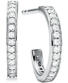 Small Sterling Silver Cubic Zirconia Huggie Hoop Earrings 1/2""