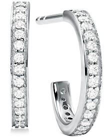 """Michael Kors Small Sterling Silver Cubic Zirconia Huggie Hoop Earrings 1/2"""""""