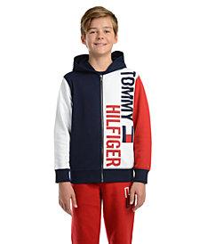 Tommy Hilfiger Big Boys Lawrence Colorblocked Full-Zip Fleece Logo Hoodie