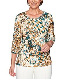 Classics Floral Patchwork Print Knit Top