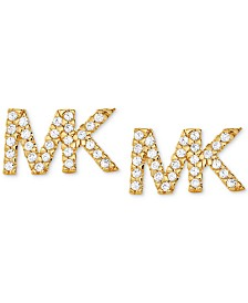 Michael Kors Sterling Silver Pavé Logo Stud Earrings