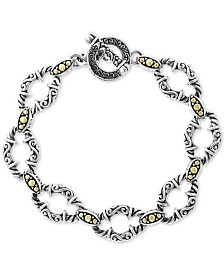 EFFY® Filigree Open Link Toggle Bracelet in Sterling Silver & 18k Gold
