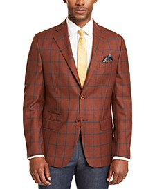 Men's Slim-Fit Rust/Teal Windowpane Sport Coat