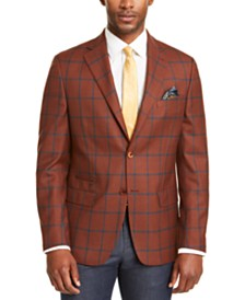 Tallia Men's Slim-Fit Rust/Teal Windowpane Sport Coat