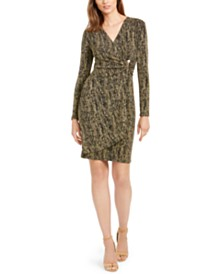 Calvin Klein Petite Metallic Wrap Dress