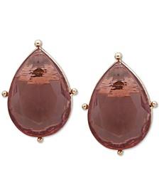 Gold-Tone Teardrop Crystal Stud Earrings
