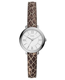 Fossil Women's Mini Jacqueline Gray Leather Strap Watch 26mm