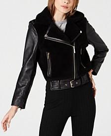 Mixed-Media Leather Moto Jacket