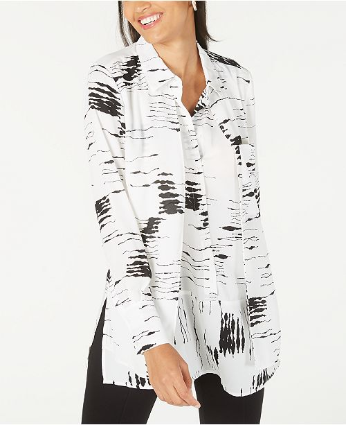 Alfani Printed Popover Tunic Top, Created for Macy's