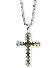 "EFFY® Men's Cross 22"" Pendant Necklace in Sterling Silver & 18k Gold"