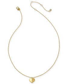 "Kate Spade New York Gold-Tone, Silver Tone or Rose-Gold Tone Heart Pendant Necklace, 16"" + 3"" Extender"