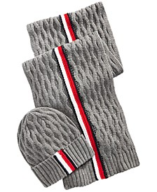 Men's Ski Patrol Honeycomb Striped Hat & Scarf Set