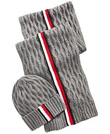 Tommy Hilfiger Men's Ski Patrol Honeycomb Striped Hat & Scarf Set