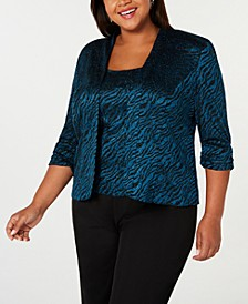 Plus Size 3/4-Sleeve Printed Twinset