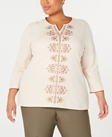 Alfred Dunner Plus Size Cedar Canyon Embroidered Split-Neck Top