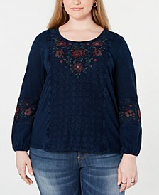 Plus Size Embroidered Crochet-Trim Top, Created for Macy's