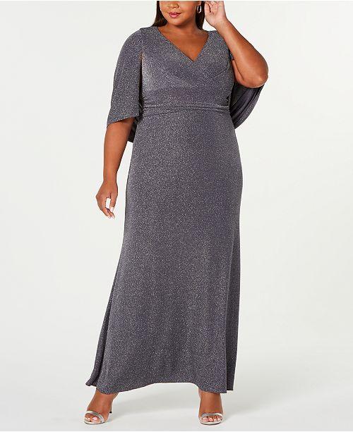 Plus Size Metallic Column Gown
