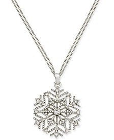"Silver-Tone Crystal Snowflake 36"" Pendant Necklace, Created for Macy's"