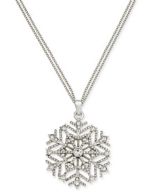 "Charter Club Silver-Tone Crystal Snowflake 36"" Pendant Necklace, Created for Macy's"
