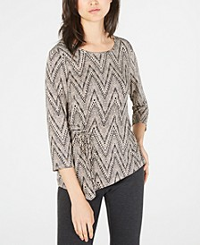 Petite Printed Side-Tie Top