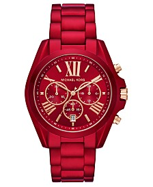 Michael Kors Women's Chronograph Bradshaw Red Stainless Steel Bracelet Watch 43mm