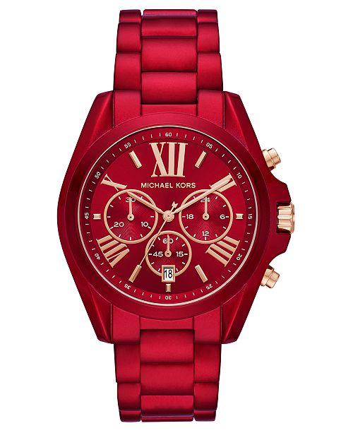 Michael Kors Women's Chronograph Bradshaw Red Stainless Steel Bracelet Watch 43mm