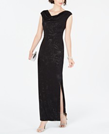 Jessica Howard Petite Metallic Floral Draped Gown