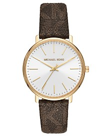 Michael Kors Women's Pyper Brown Logo Strap Watch 38mm