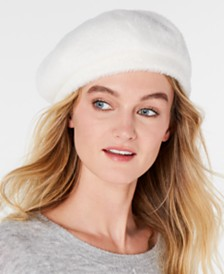 I.N.C. Solid Faux-Fur Beret, Created for Macy's