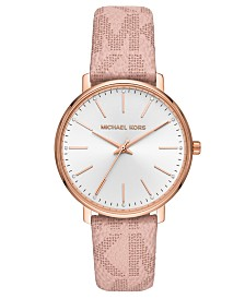 Michael Kors Women's Pyper Pink Logo Strap Watch 38mm