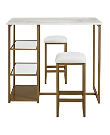 Dorel Living Maxim 3-Piece Brass Pub Set with Faux Marble Top