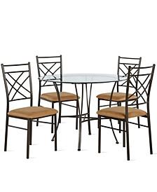 Terina 5-Piece Glass Top Dining Set