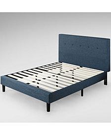Zinus Omkaram Upholstered Navy Platform Bed / Wood Slat Support, Full