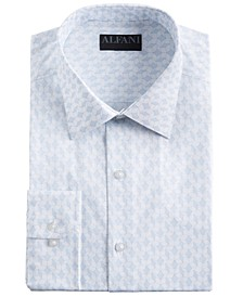 Men's Classic/Regular Fit Performance Stretch Abstract Cube Dress Shirt, Created for Macy's