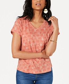 Style & Co Petite Cotton Printed V-Neck T-Shirt, Created for Macy's