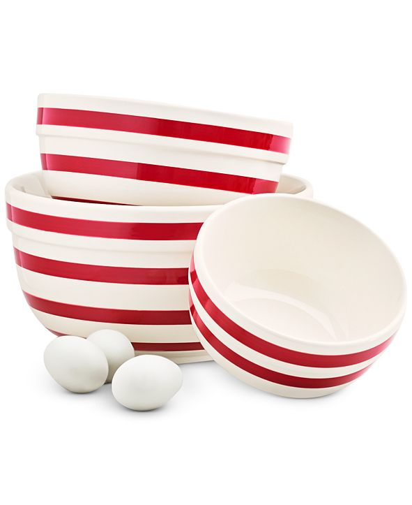 Martha Stewart Collection Striped Mixing Bowls, Set of 3, Created for Macy's