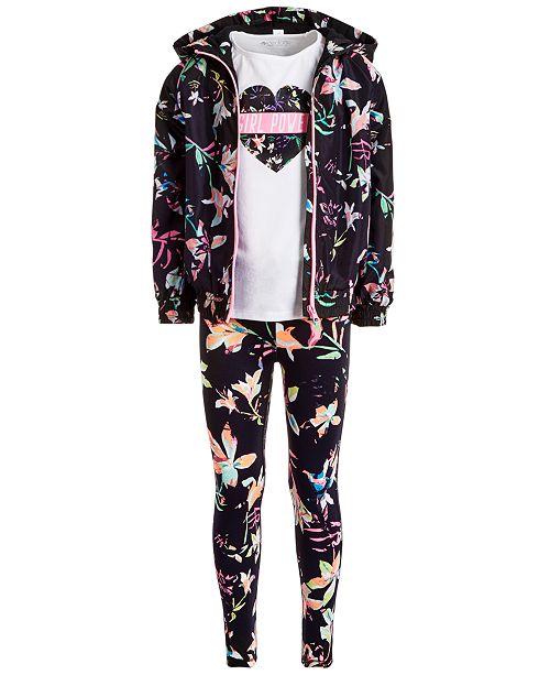 Ideology Little Girls Floral-Print Hooded Windbreaker, Cold-Shoulder T-Shirt & Printed Leggings, Created for Macy's
