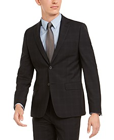 Men's Skinny-Fit Infinite Stretch Black Plaid Suit Separate Jacket