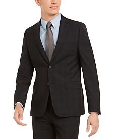 Calvin Klein Men's Skinny-Fit Infinite Stretch Black Plaid Suit Separate Jacket