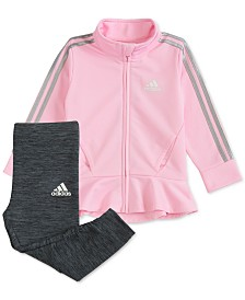 adidas Baby Girls 2-Pc. Peplum Hem Jacket & Leggings Set