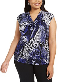 Plus Size Printed Cowlneck Top