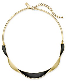 "INC Gold-Tone & Black Enamel Twisted Collar Necklace, 16"" + 3"" extender, Created for Macy's"