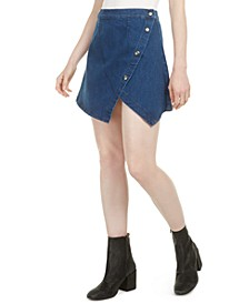 Notched Denim Mini Skirt