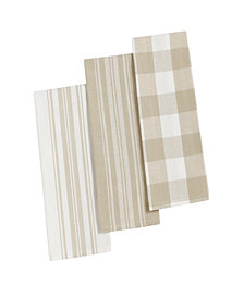 Elrene Farmhouse Living Stripe and Check Kitchen Towels - Set of 3