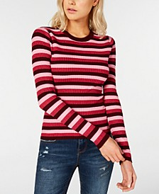 Juniors' Shine Striped Rib-Knit Sweater