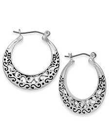 Silver-Tone Etched Hoop Earrings, Created for Macy's