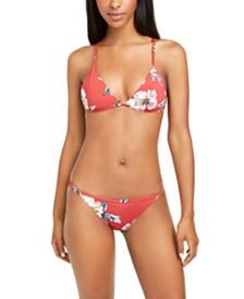 Roxy Juniors' Beach Classics Printed Triangle Bikini Top & Printed Bikini Bottoms