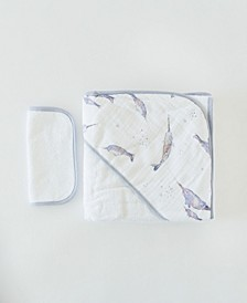 Narwhal Cotton Hooded Towel Wash Cloth Set