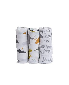 Little Unicorn Dino Friends Cotton Muslin 3-Pack Swaddle Blanket Set