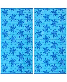 American Dawn Swimming Turtles Double Velour Jacquard Beach Towel 2 Piece Set